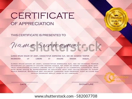 Qualification Certificate Appreciation Geometrical Design Elegant