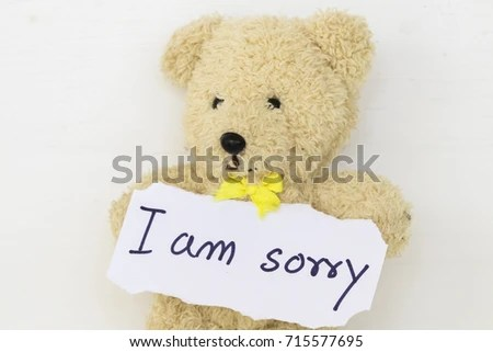 Sorry Message Card Teddy Bear On Stock Photo (Royalty Free - apology card messages