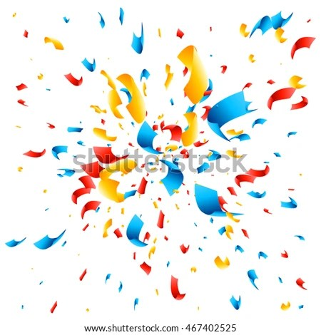 Happy Birthday Animated Wallpaper Confetti Explosion On White Background Colored Stock