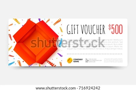 Gift Voucher Template Open Red Box Stock Vector HD (Royalty Free - gift certificate voucher template