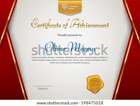 Certificate Appreciation Seal Badge Template Red Stock Vector