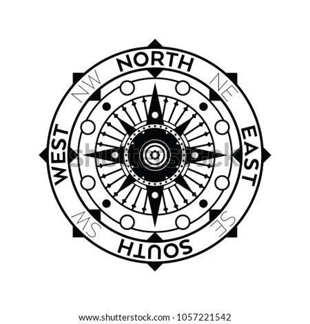 Ornate Nautical Compass Design Black White Stock Vector 1057221542