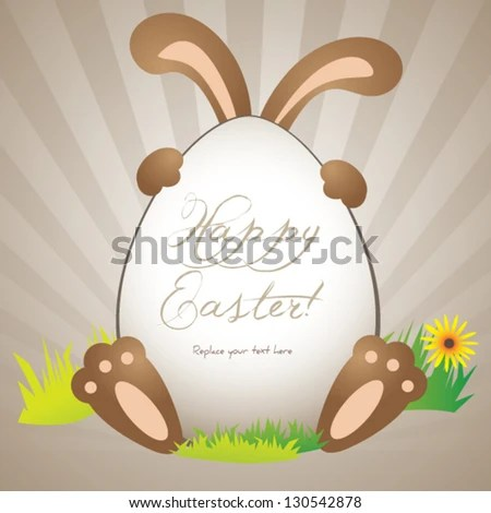 Funny Easter Greeting Card Poster Background Stock Vector HD - easter greeting card template