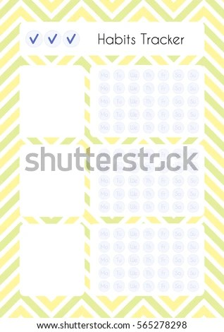 Printable Diary Page Habits Tracker Paper Stock Vector 565278298