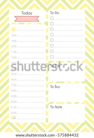 Printable Diary Page Daily Planning Paper Stock Vector 575884432