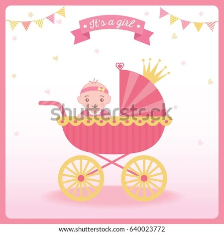 Baby Girl Shower Greeting Card New Stock Vector (Royalty Free - greeting for new baby girl