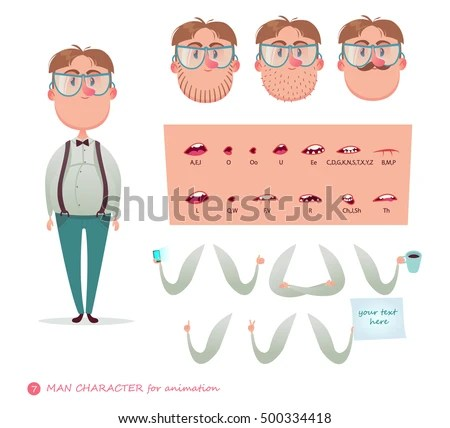 Geek Character Your Scenes Parts Body Template Stock Vector (Royalty