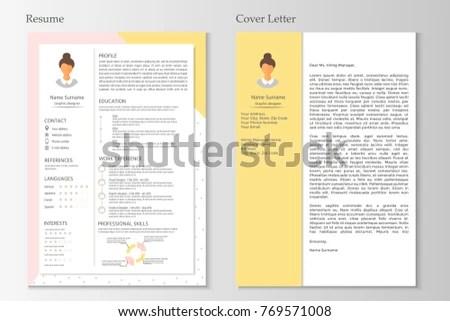 Feminine Resume Cover Letter Infographic Design Stock Vector HD - resume and cover letter