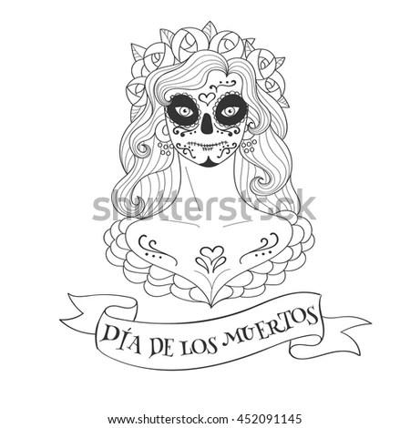Sugar Skull Woman Day Dead Template Stock Vector 452091145