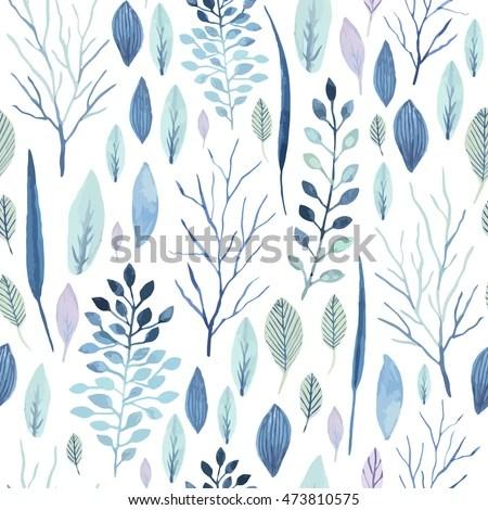 Falling Leaves Wallpaper Free Download Vector Cute Watercolor Seamless Flower Pattern Stock