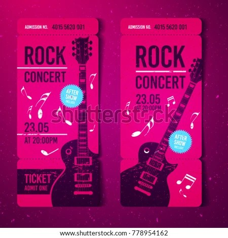 Vector Illustration Pink Rock Concert Ticket Stock Vector HD
