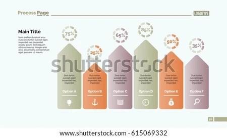 Six Arrows Bar Chart Slide Template Stock Vector 667489945 - bar chart template