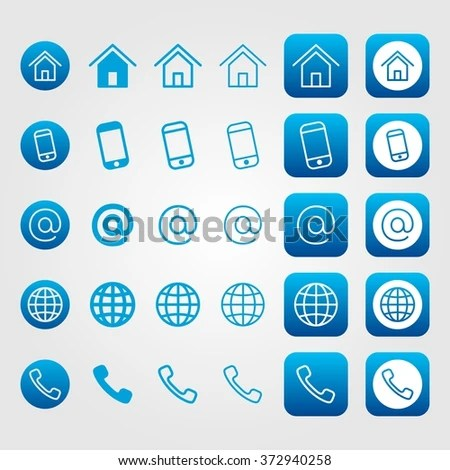 Blue Line Contact Icon Set Business Stock Vector 372940258 - address to phone