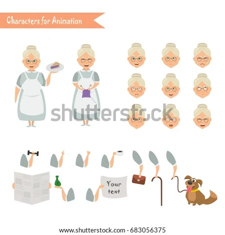 Grandmother Housewife Character Scenes Parts Body Stock Vector