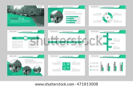 Set Green Elements Abstract Templates Presentation Stock Vector - presentation templates