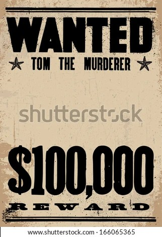 Vector Vintage Wanted Poster Reward Poster Stock Vector 166065365