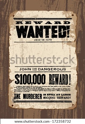 Vector Retro Wanted Poster Template All Stock Vector (2018 - free wanted poster template
