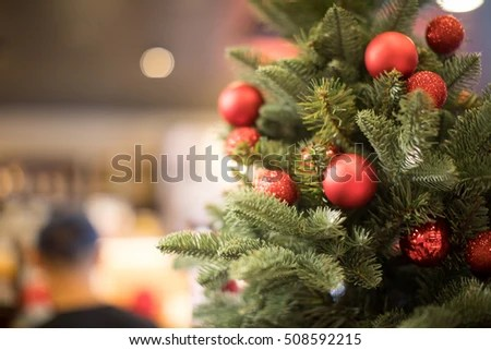 Christmas Tree Background Soft Focus Background Stock Photo (Royalty