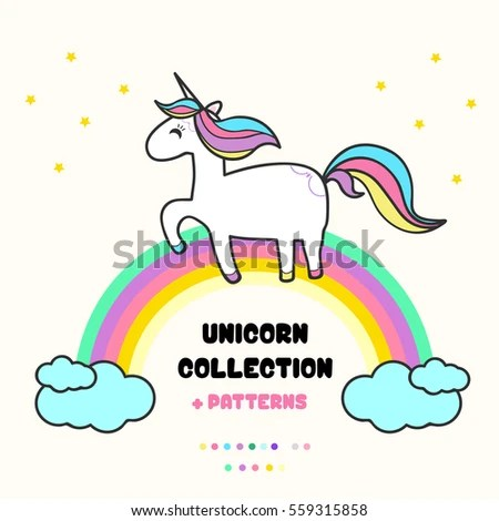 Cute Llamacorn Wallpaper Unicorn Collection Rainbow Clouds Stock Vector 559315858