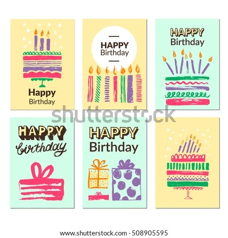 Birthday Greeting Card Templates Vector Illustrations Stock Vector