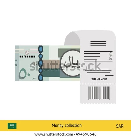 Paying By Cash Invoice Saudi Arabian Stock Vector 494590648