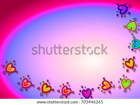 Colourful Pink Purple Page Border Love Stock Illustration 703446265 - rainbow page border