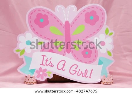 Butterfly Sign Celebrating Birth Baby Girl Stock Photo (Royalty Free - Birth Of Baby Girl