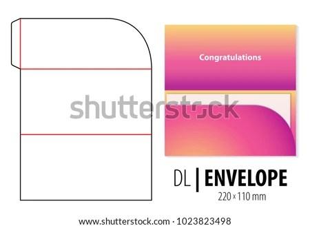 Gift Greeting Card Envelope Die Cut Stock Vector 1023823498 - money gift envelope template