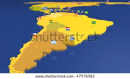 Map South American Continent Each Capital Stock Illustration
