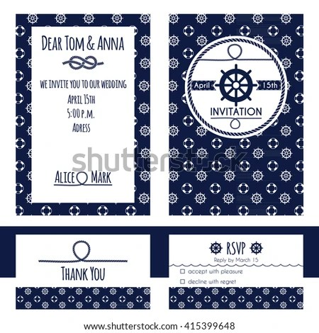 Nautical Wedding Invitation RSVP Card Template Stock Vector HD