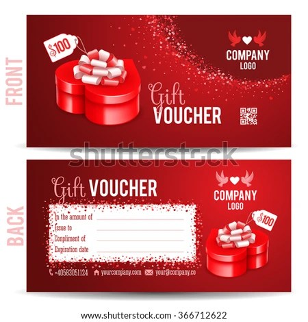 Gift Voucher Template Luxury Red Gift Stock Vector 366712622