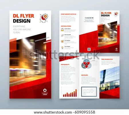 Tri Fold Brochure Design Red DL Stock Vector 609095558 - Shutterstock