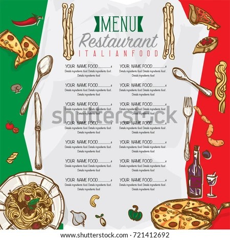Menu Italian Food Restaurant Template Design Stock Vector 721412692 - italian menu