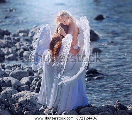 Girl Baby Shower Wallpaper Baby With Angel Wings Stock Images Royalty Free Images