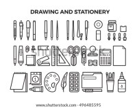 Office Stationery Drawing Tools Line Icons Stock Vector ...