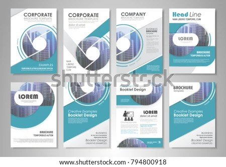 Blue Presentation Template Set Business Annual Stock Vector (Royalty