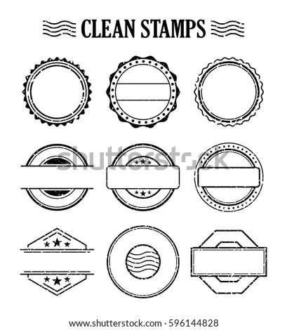 Rubber Ink Stamp Set Postage Mail Stock Photo (Photo, Vector