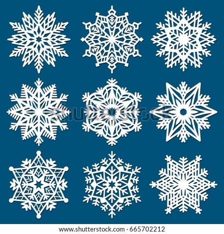 Set Snowflakes Laser Cutting Template Christmas Stock Photo (Photo - template for christmas