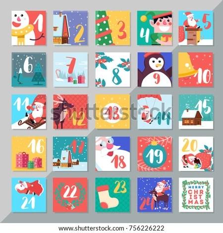 Christmas Holiday Advent Calendar Template Design Stock Photo (Photo - holiday calendar template