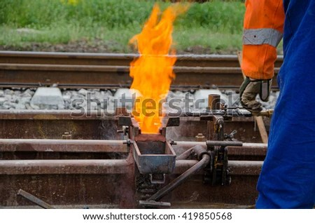 Thermite Welding Equipment Stock Photo (Royalty Free) 419850568 - thermite welding