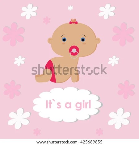 Template Congratulations On Birth Baby Girl Stock Vector 425689855 - Birth Of Baby Girl