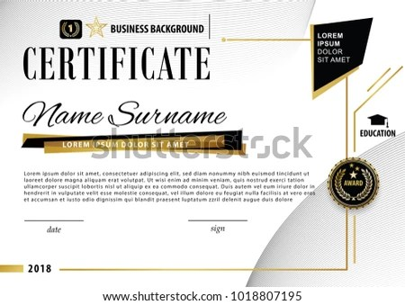Official Certificate Business Template Gold Black Stock Vector