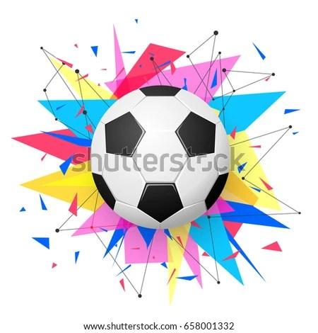 Football Emblem Template Soccer Ball Colorful Geometric Stock Vector