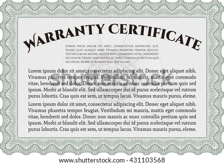 Warranty Template Warranty Certificate Stock Vector 431103568