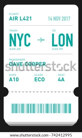 E Ticket Boarding Pass Card Template Bar Stock Vector 742412995 - e ticket template