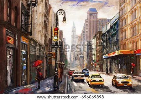 Rainy Wallpaper With Girl Oil Painting On Canvas Street View Stock Illustration