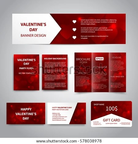 Valentines Day Banner Flyers Brochure Business Stock Vector
