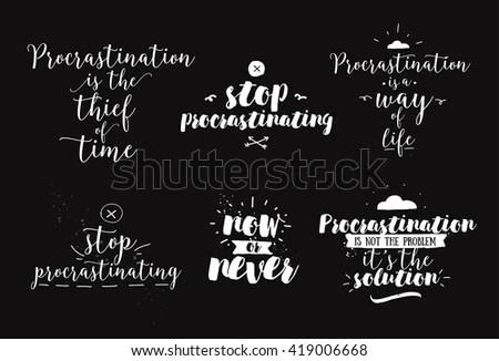 Set Quotes About Procrastination Hand Drawn Stock Vector HD (Royalty - quotes about procrastination
