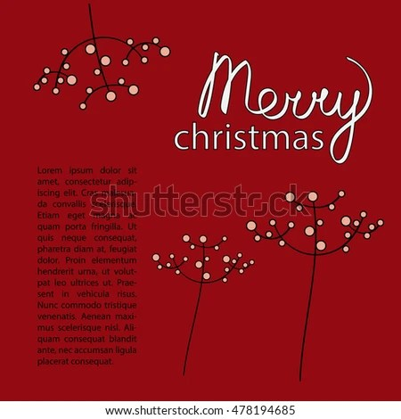 Christmas Card Template Dark Red Color Stock Vector 478194685