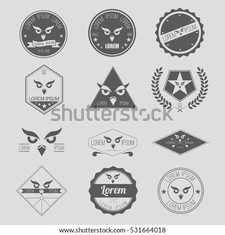 Vector Label Set Owl Hipster Logo Stock Photo (Photo, Vector - hipster logo template